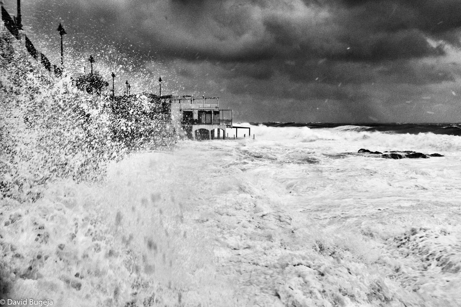 Sliema Seafront - Surfside Restaurant battered by incoming thirty foot plus waves David Bugeja (c) 2019